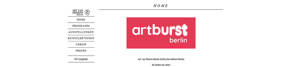 Website Screenshot: Art van Demon Berlin