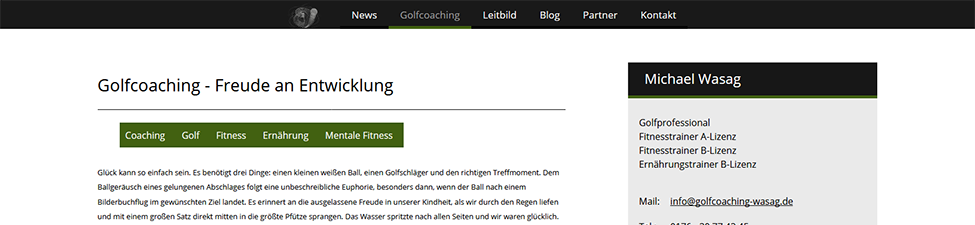 Website Screenshot: Golfcoach Wasag