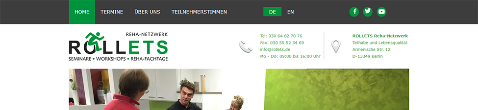 Website Screenshot: Rollets ReHa-Netzwerk